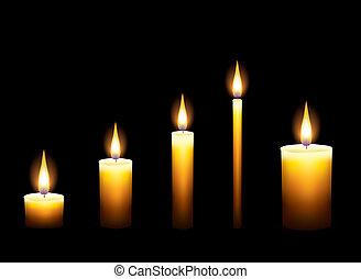 sombre, bougies, fond