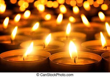 sombre, bougies, incandescent