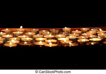 sombre, bougies, nuit