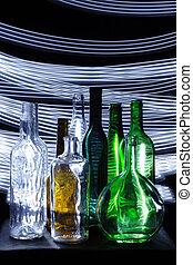 sombre, bouteilles, vide, nuit