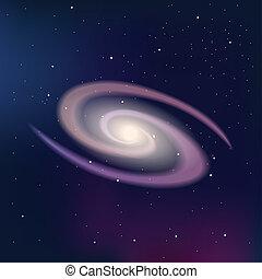 sombre, ciel étoilé, galaxie, nuit
