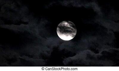 sombre, ciel nuit, lune