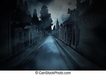sombre, cimetière, fond