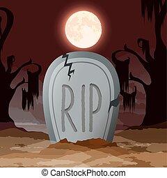 sombre, cimetière, nuit halloween, scène