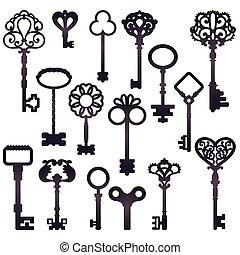 sombre, clés, silhouettes, ensemble