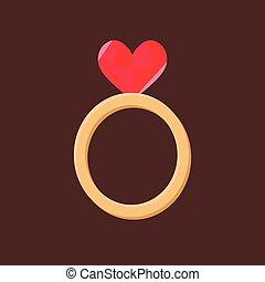sombre, coeur, anneau, fond