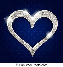 sombre, coeur, cadre, argent, fond