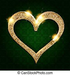 sombre, coeur, cadre, fond, or