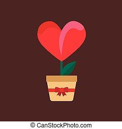 sombre, coeur, fleur, fond