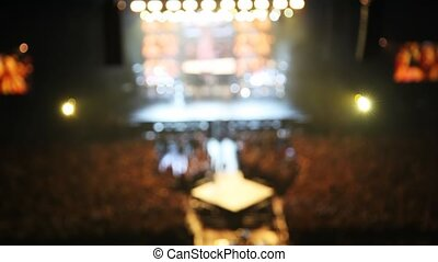 sombre, concert, panorama, scène, lumière, salle