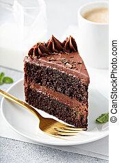 sombre, couper, gâteau chocolat