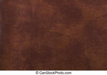 sombre, cuir, texture, brun