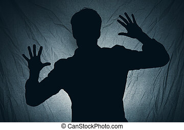 sombre, derrière, ombre, tissu, homme