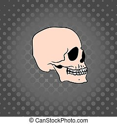 sombre, dessiné, fond, crâne, main