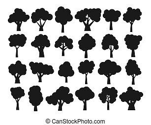 sombre, différent, ensemble, silhouettes, arbres