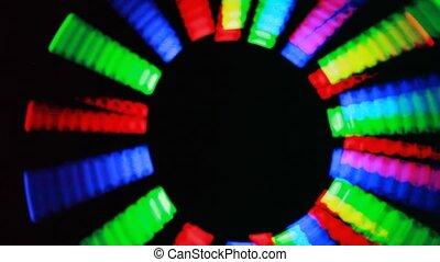 sombre, différent, tourner, clignotant, couleurs, cercle, ...