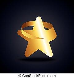 sombre, doré, étoile, fond, icône