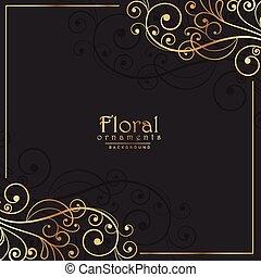sombre, doré, cadre, floral, fond