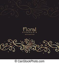 sombre, doré, floral, fond, élégant