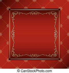 sombre, doré, ornement, rhombe, vecteur, cadre, arrière-plan rouge, vendange