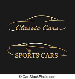 sombre, doré, silhouettes, fond, voiture