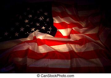 sombre, drapeau, usa