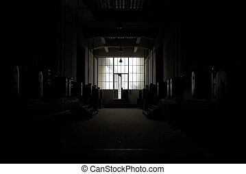 sombre, endroit, abandonnés