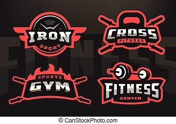 sombre, ensemble, emblème, sport, arrière-plan., logo
