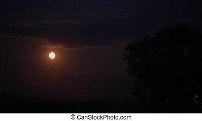 sombre, entiers, ciel, lune