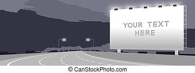 sombre, espace, grand, nuit, isolé, illustration, autoroute, fond, coude, annonce, signage, panneau affichage, copie, ou, autoroute, ciel