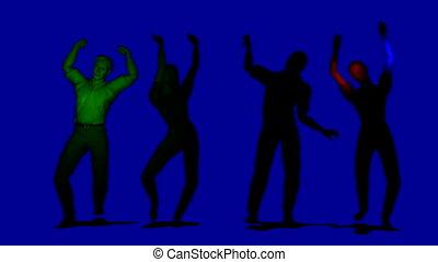 sombre, faire boucle, danse, gens