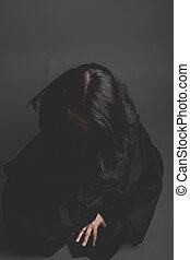 sombre, femme, gris, grand, tissu, tristesse, fond, gothique, noir