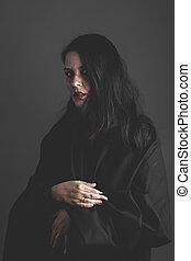 sombre, femme, gris, grand, tissu, tristesse, fond, gothique, noir,  vampire