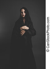 sombre, femme, gris,  Halloween, grand, tissu, tristesse, fond, gothique, noir