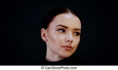 sombre, femme, jeune, intensif, photosession., model., joli...