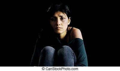 sombre, femme pleure