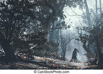 sombre, forêt, mystérieux