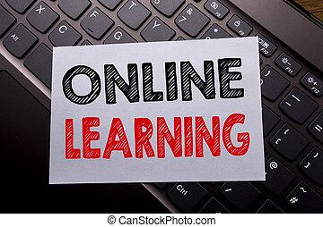 sombre, formation, concept, business, mot, ligne, écriture, note, arrière-plan., écrit, papier, clavier, e-apprendre, collant, learning.