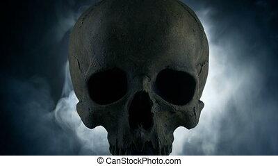 sombre, fumée, crâne, incandescent, allumé