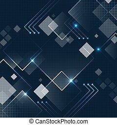 sombre, futuriste, scintillement, vecteur, carrée, fond, grid., résumé, technologie, bleu