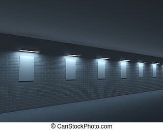sombre, galerie, long