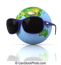 sombre, globe, lunettes