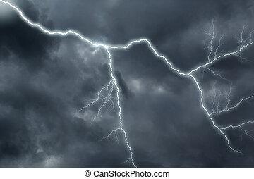 sombre, grève, ciel, nuageux, éclair