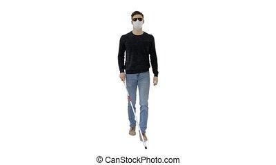 sombre, homme, lunettes, masque de protection, aveugle, ...