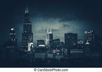 sombre, horizon ville, bleu, chicago