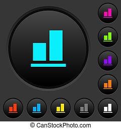sombre, icônes, couleur, aligner, fond, boutons, poussée
