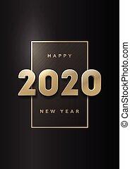 sombre, illustration., or, année, arrière-plan., vecteur, 2020, nombres, nouveau, heureux, bannière, 3d
