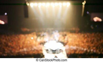 sombre, image, concert, gens, scène, chanteurs, salle