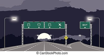 sombre, jonction, ciel nuit, isolé, illustration, autoroute, arrière-plan vert, signage, y, ou, autoroute