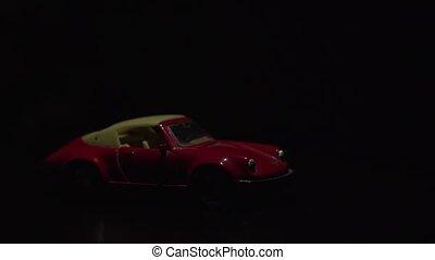 sombre, jouet, faisceau, effect., voiture, influence, effet, lumière, crée, couleur, voiture., rouges, sous, levers de soleil, rayon